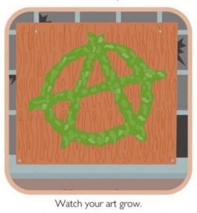 anarchy sign graffiti made of moss