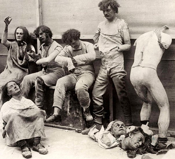 1930, Melted and damaged mannequins after a fire at Madam Tussaud's Wax Museum in London, 1930