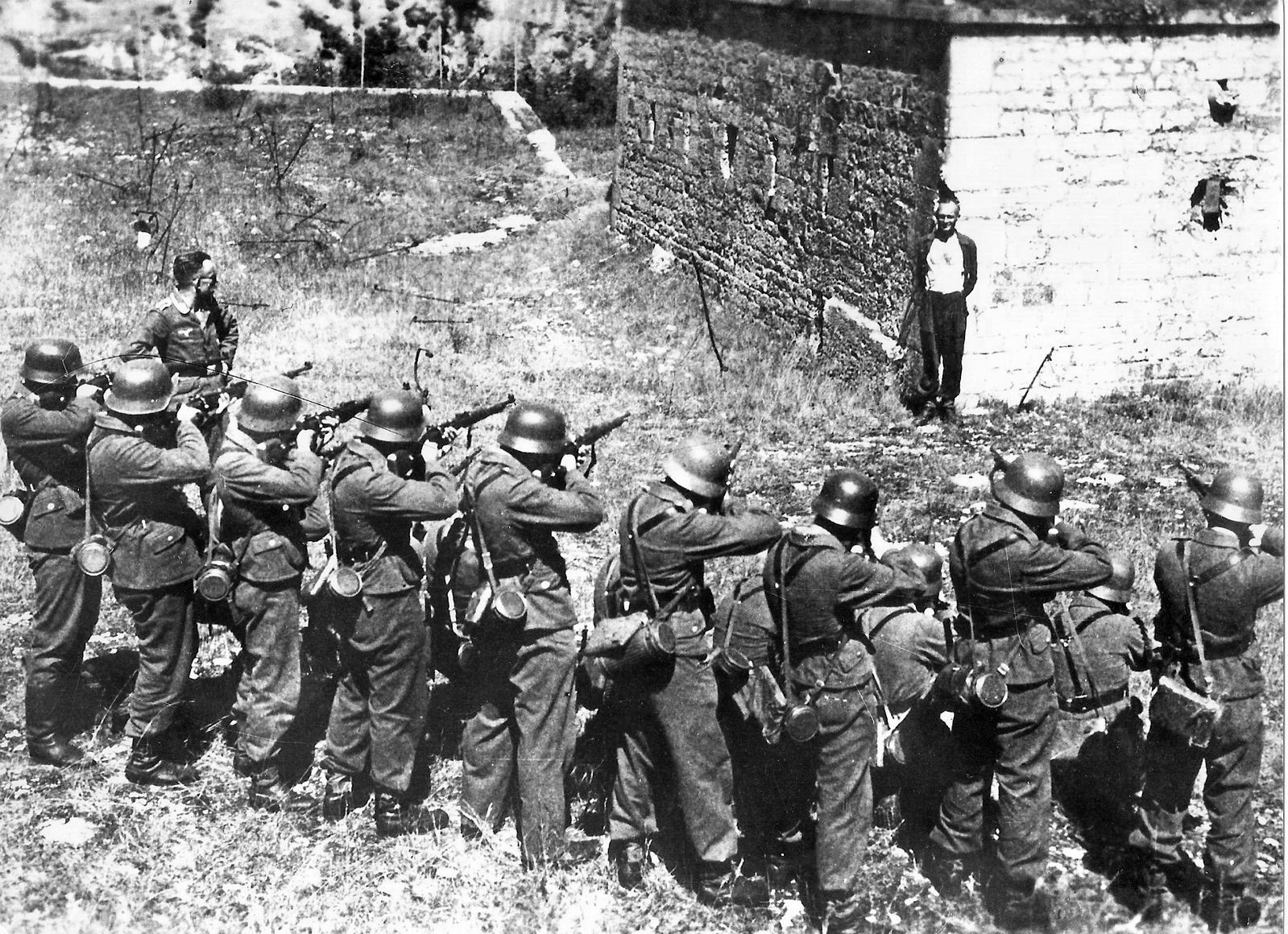 1944, October Georges Blind, a Member of the French Resistance, Smiling at a German Firing Squad
