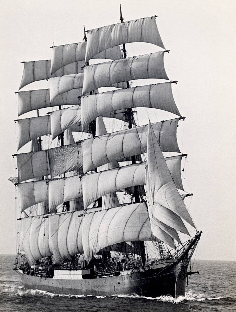 1949, The last commercial sailing ship, Pamir, to round Cape Horn in 1949