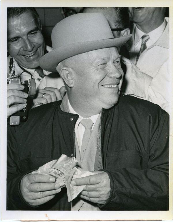 Soviet Premier Nikita Khrushchev eating a hot dog in Des Moines, Iowa