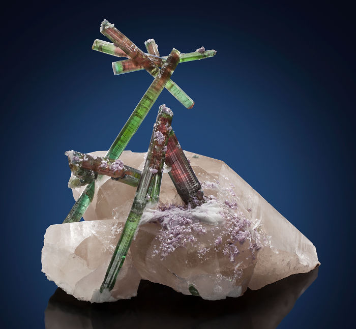 Tourmaline On Quartz With Lepidolite And Cleavelandite