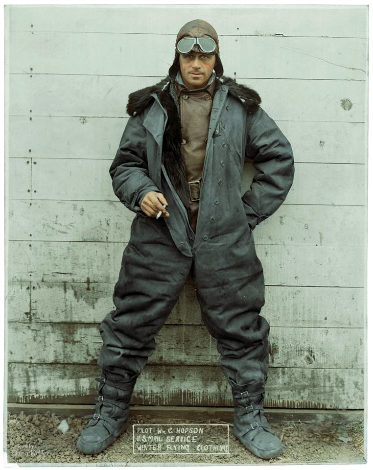 Photograph of Pilot William C. Hopson of the U.S. Mail Service in Winter Flying Clothing ca. 1926