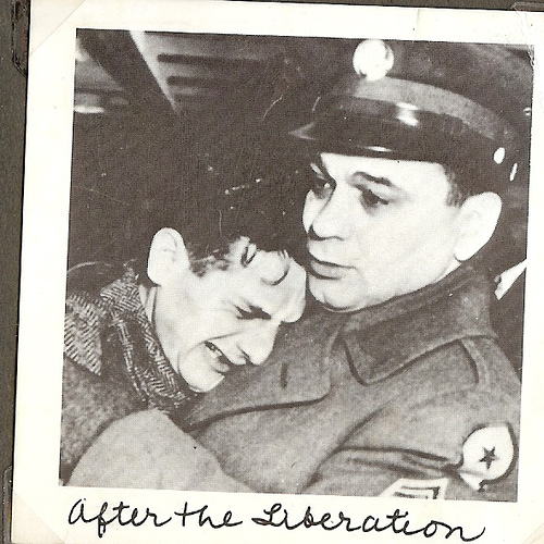 Post war reunion of U.S soldier William Best and 19-year old Joseph Guttman, whom he liberated from the Buchenwald concentration camp, New York 1948