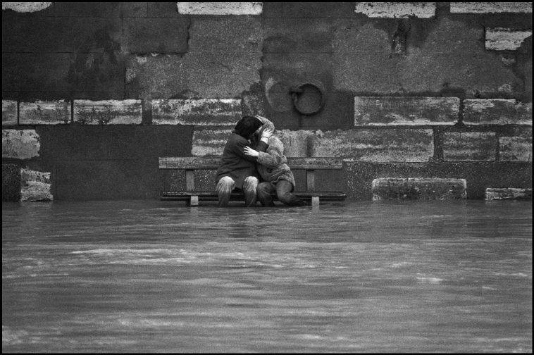 Patrick Zachmann's photo of two lovers in Paris during flooding of the Seine, February 1978