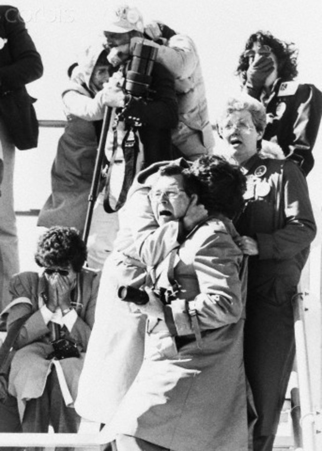 Onlookers react to the explosion of Challenger, January 28, 1986