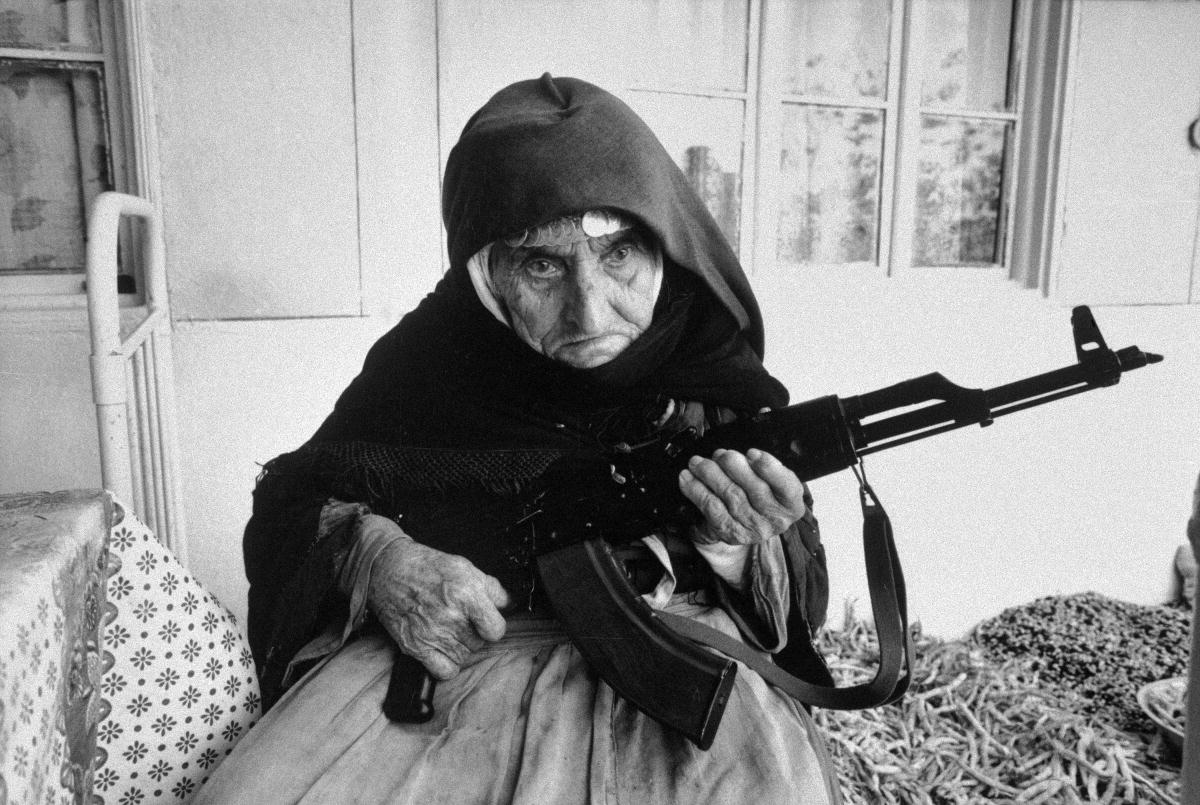 106 year old Armenian woman guards her home in southern Armenia in 1990