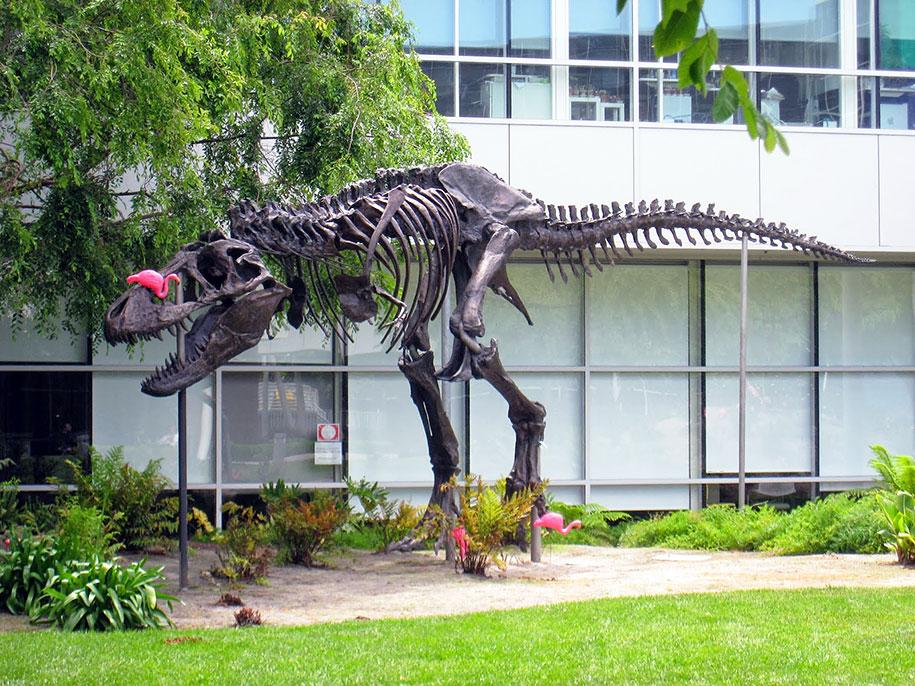 google-campus-dinosaur-attack-flamingos-3