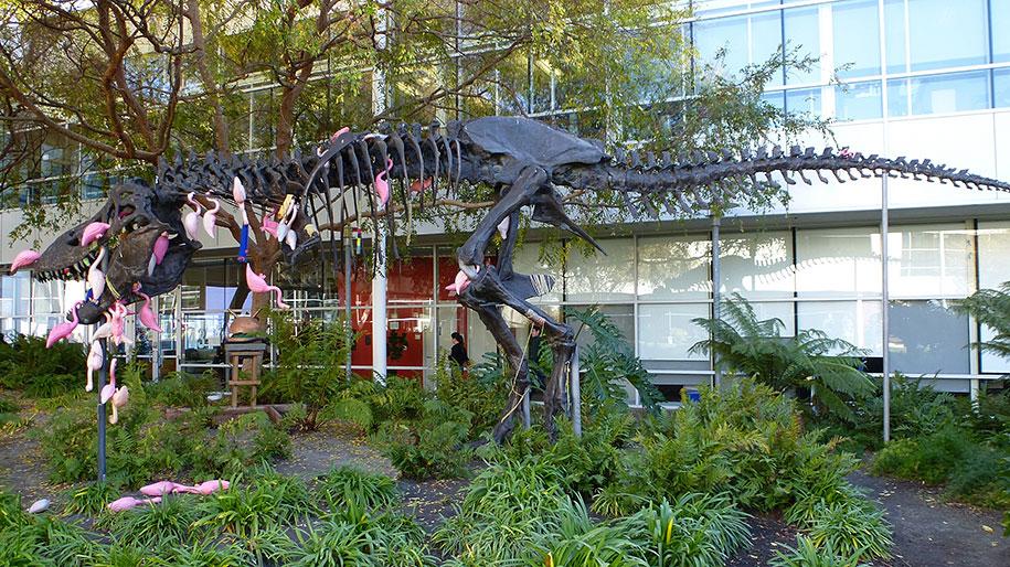 google-campus-dinosaur-attack-flamingos-5