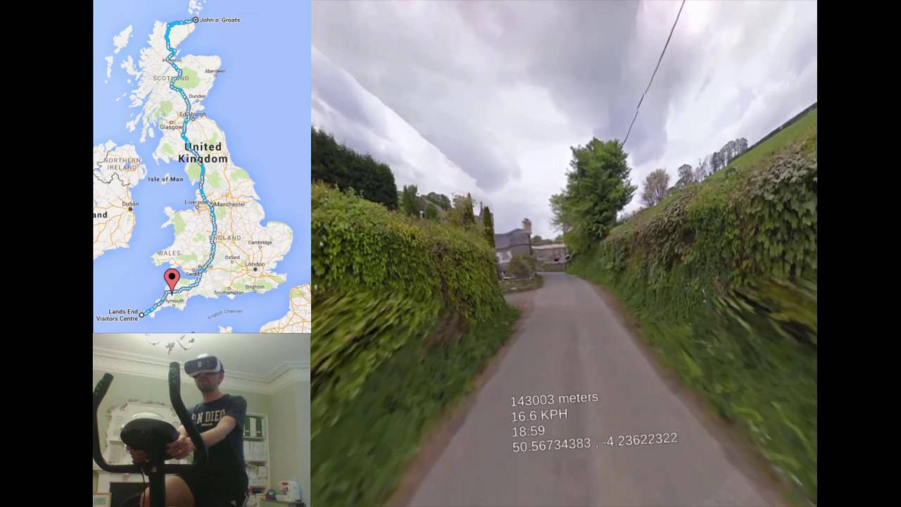 guy cycling google street view in vr