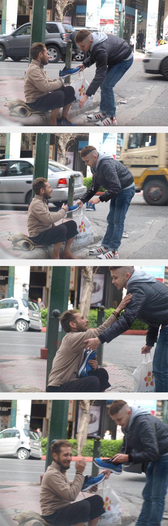 stranger-gift-homeless-shoes-street