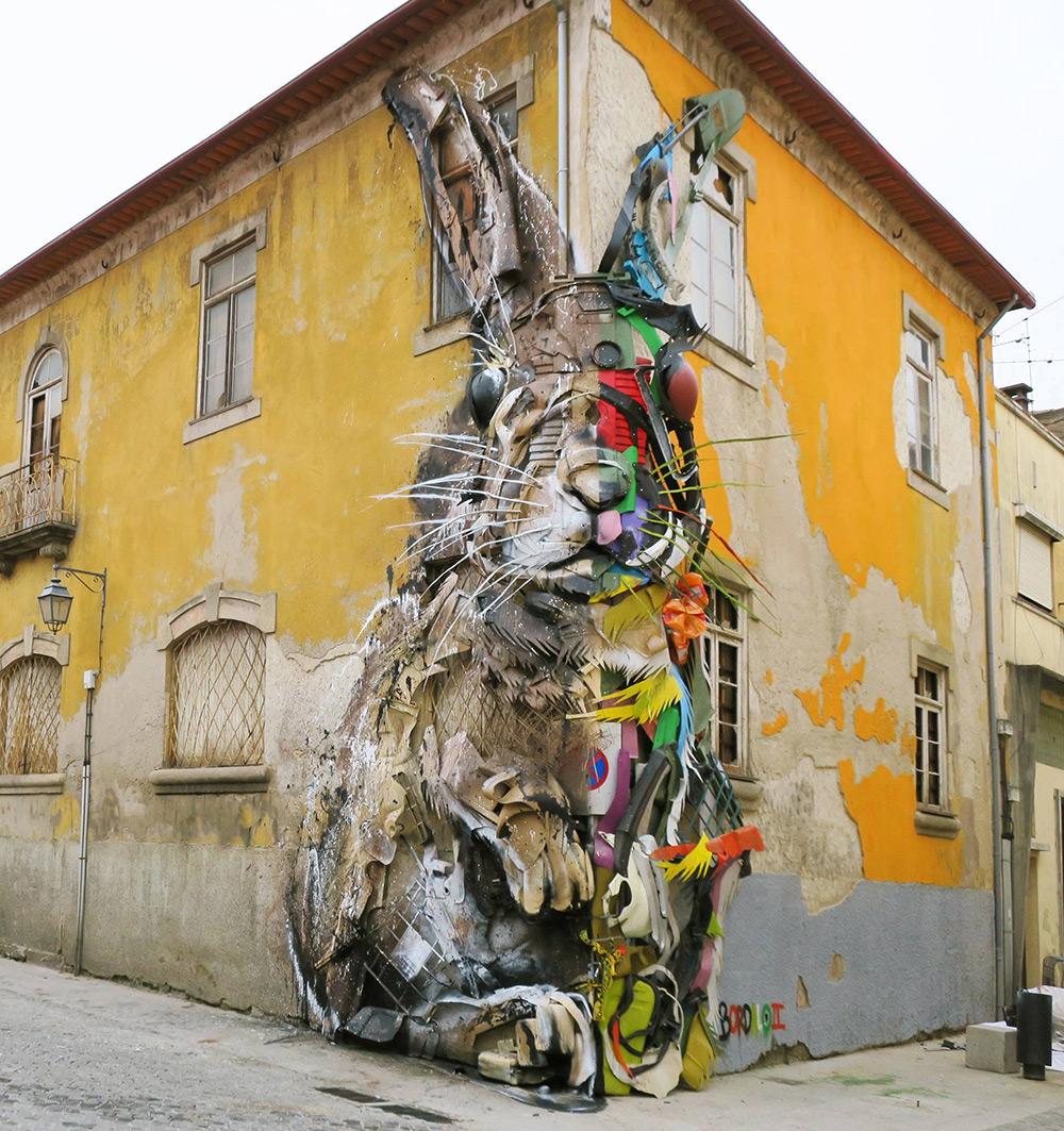 Bordalo II street art rabbit 2