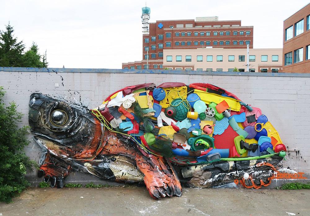 Bordalo II street art turtle