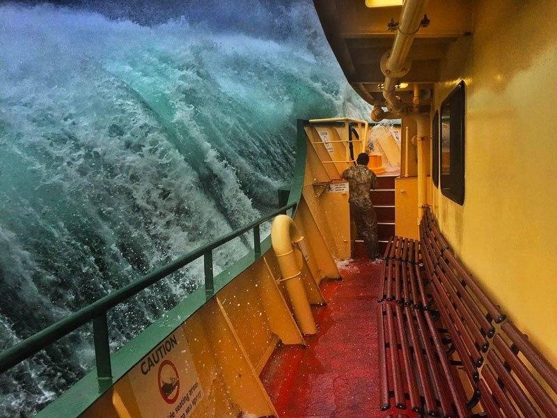 ferry inb storm sea