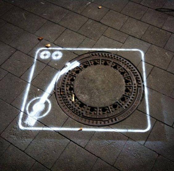 dj turntable street art