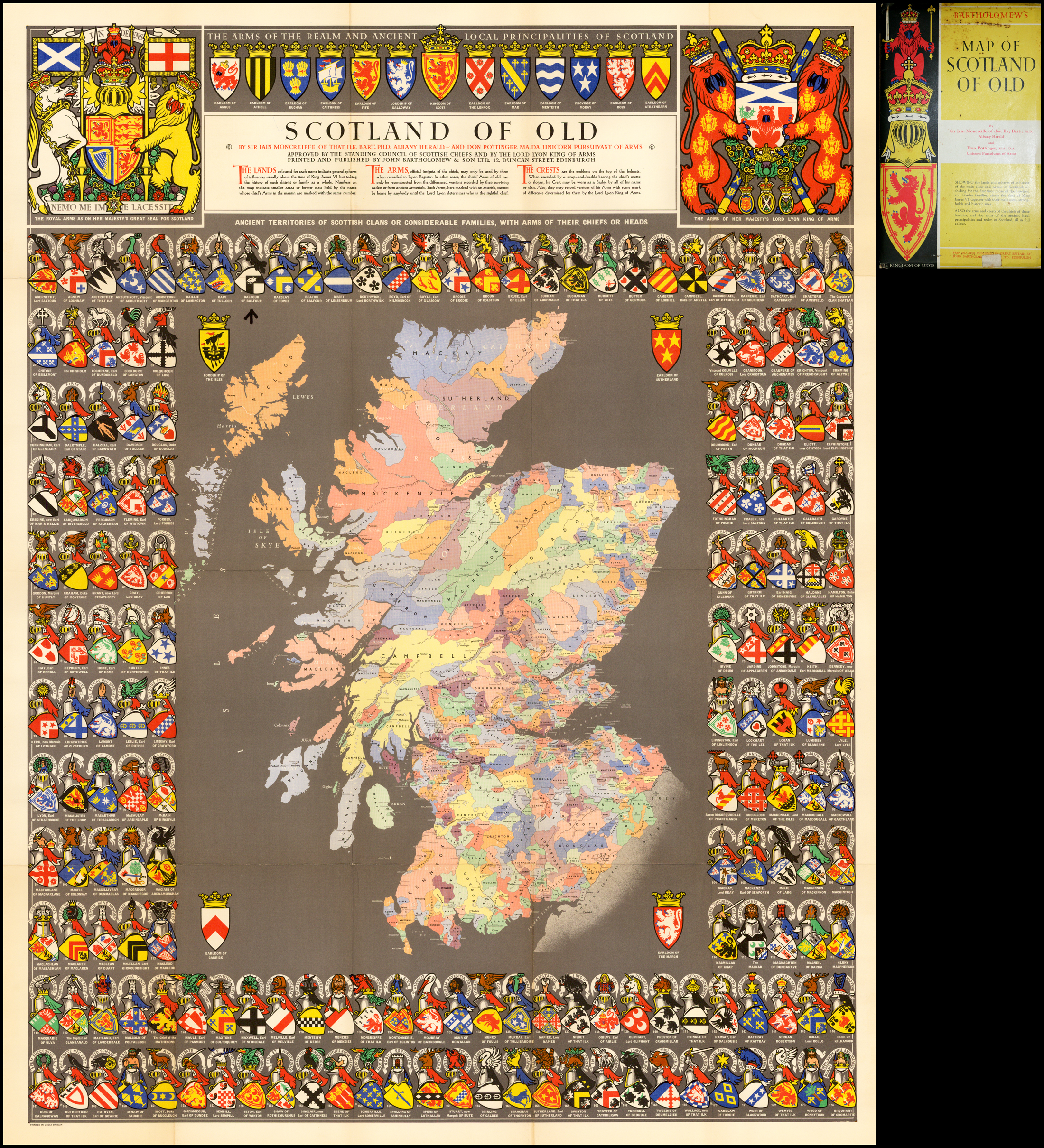 map of Scottish clans with coats of arms