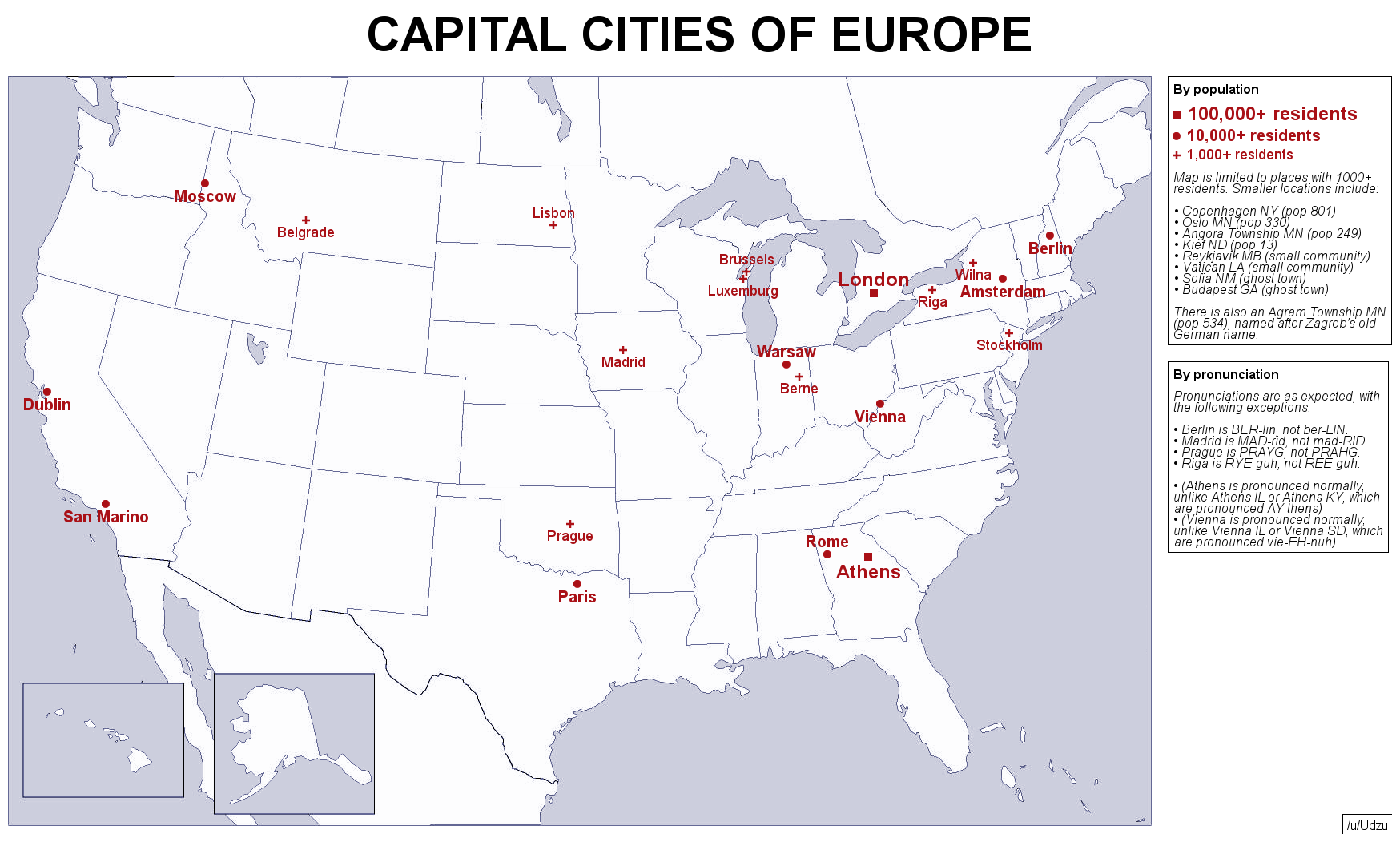 USA versions of european capital cities