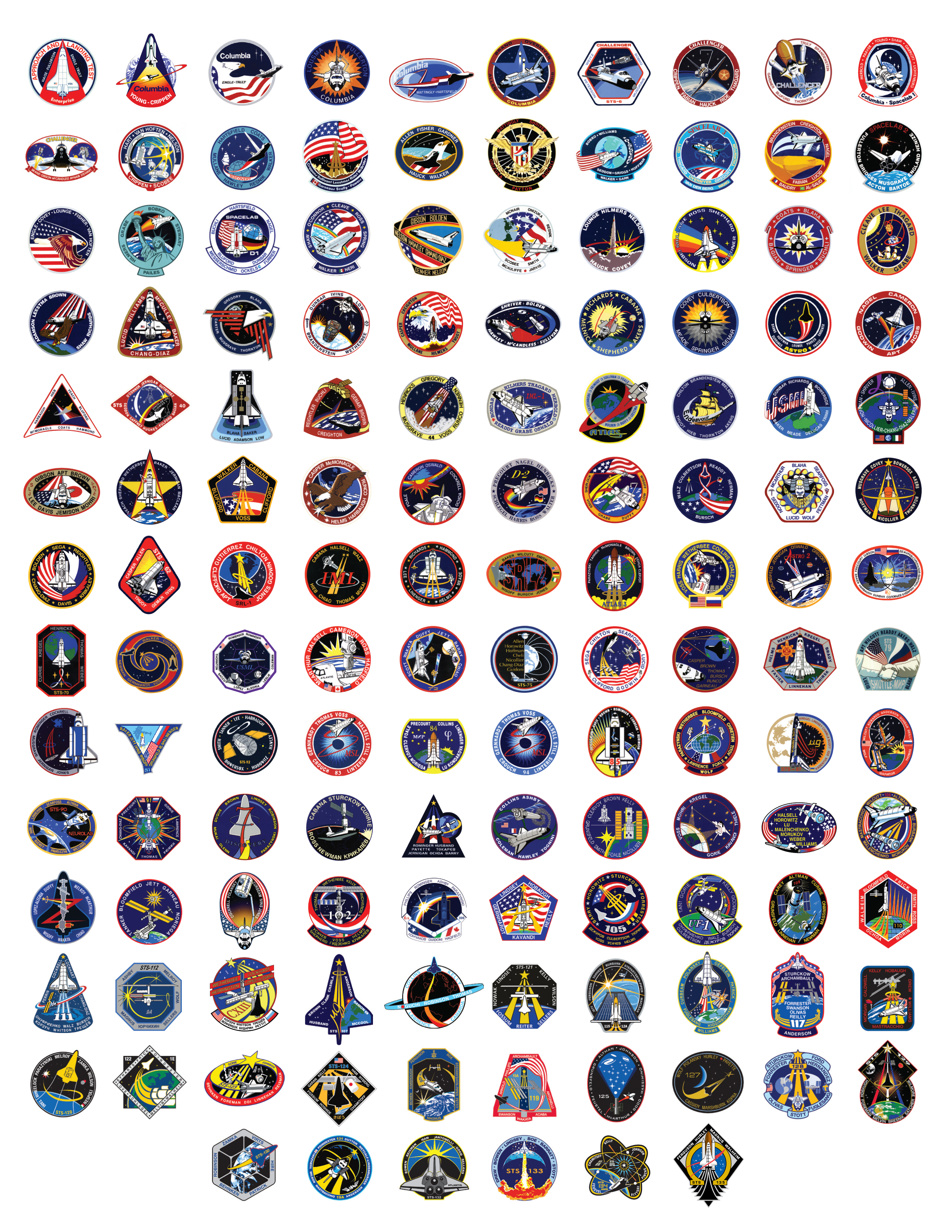 Space Shuttle Badges Earthly Mission