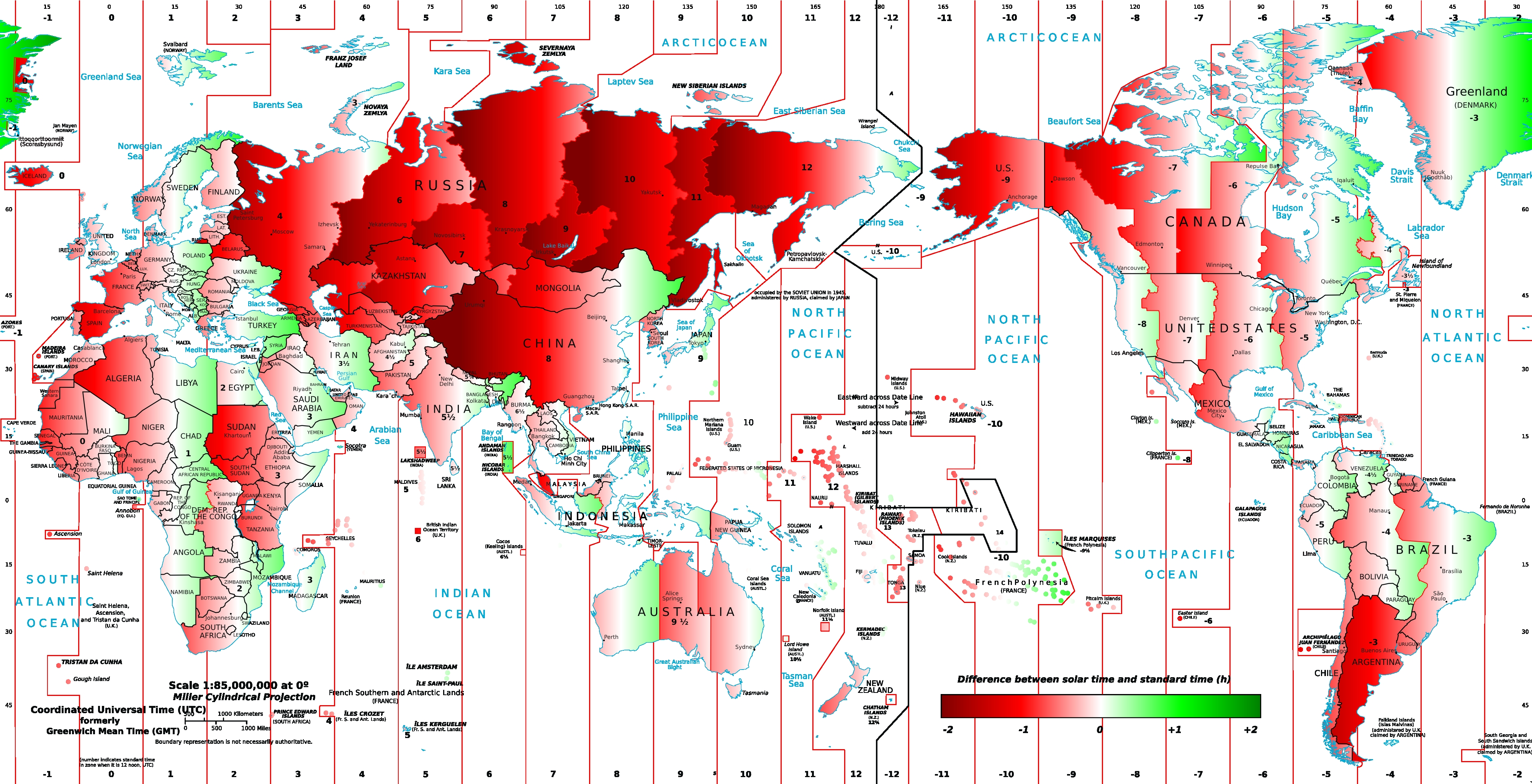 difference of solar time and clock time map