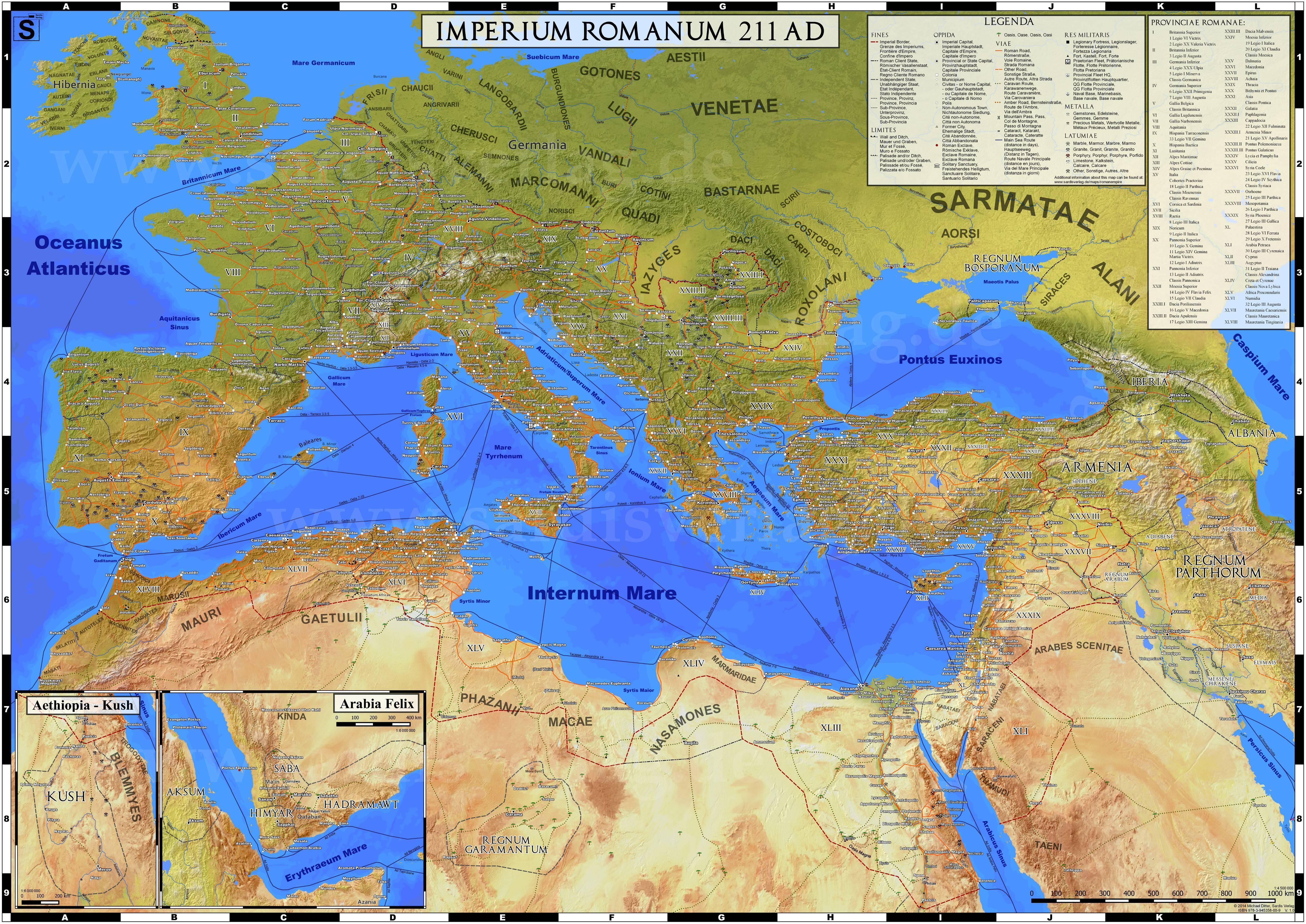 map of roman empire in 211 AD