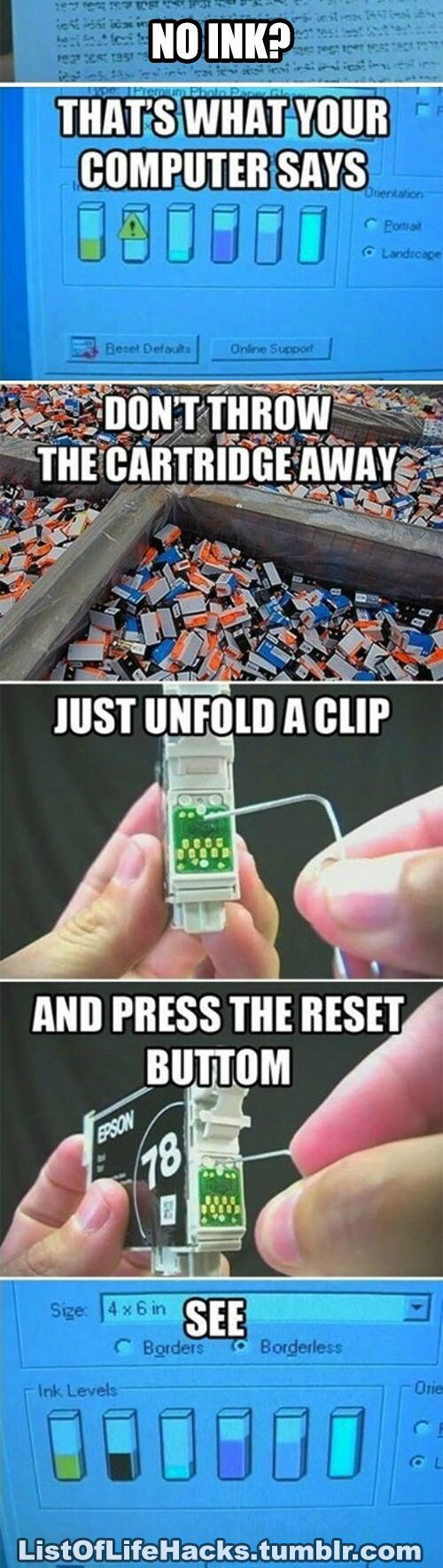 printer cartridge reset