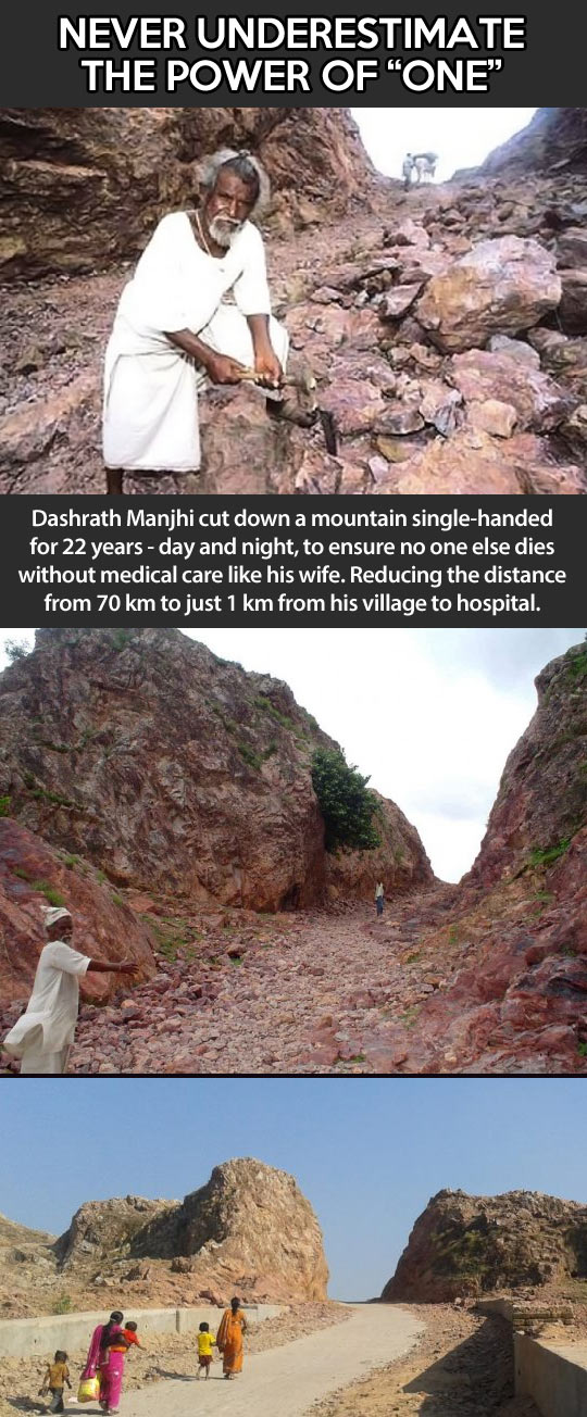 mountain man carves path through mountain
