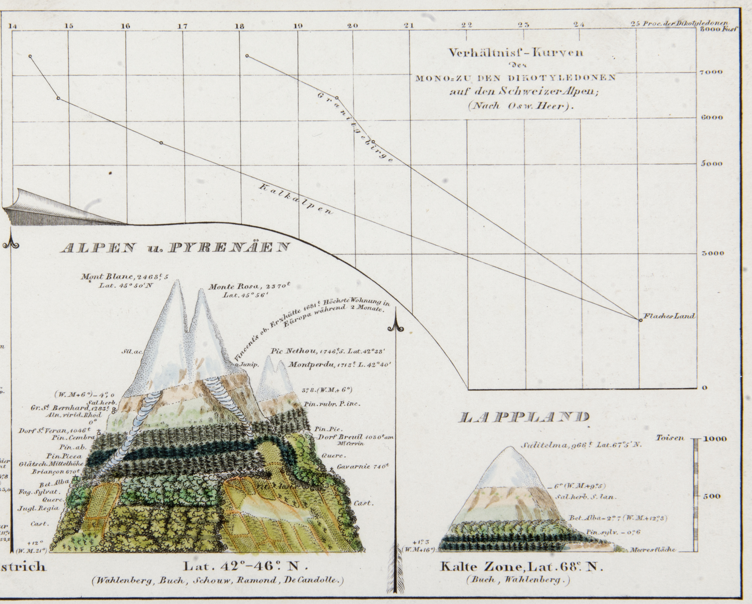 H. Berghaus, 1851, Physikalischer Atlas - Alps and Lappland