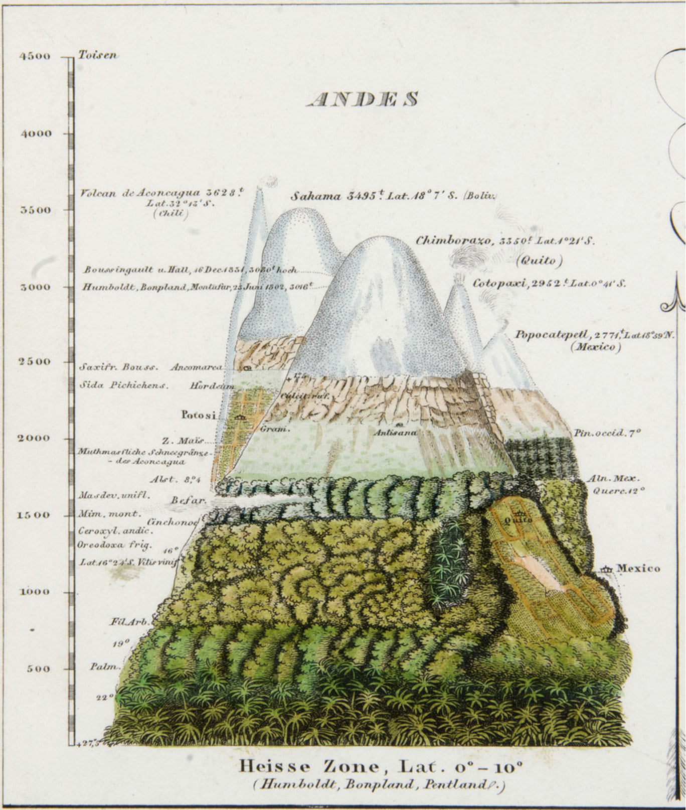 H. Berghaus, 1851, Physikalischer Atlas - Andes