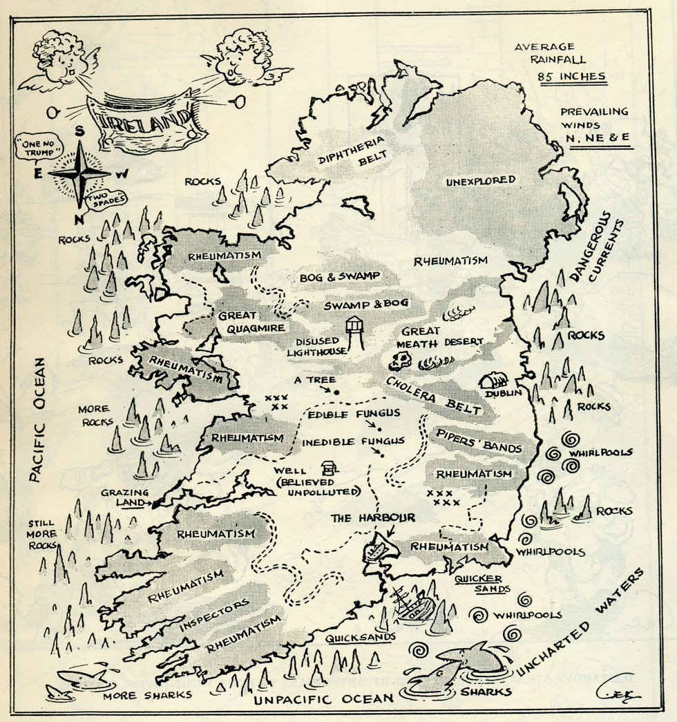 WW2 Map of Ireland to Deter Invaders