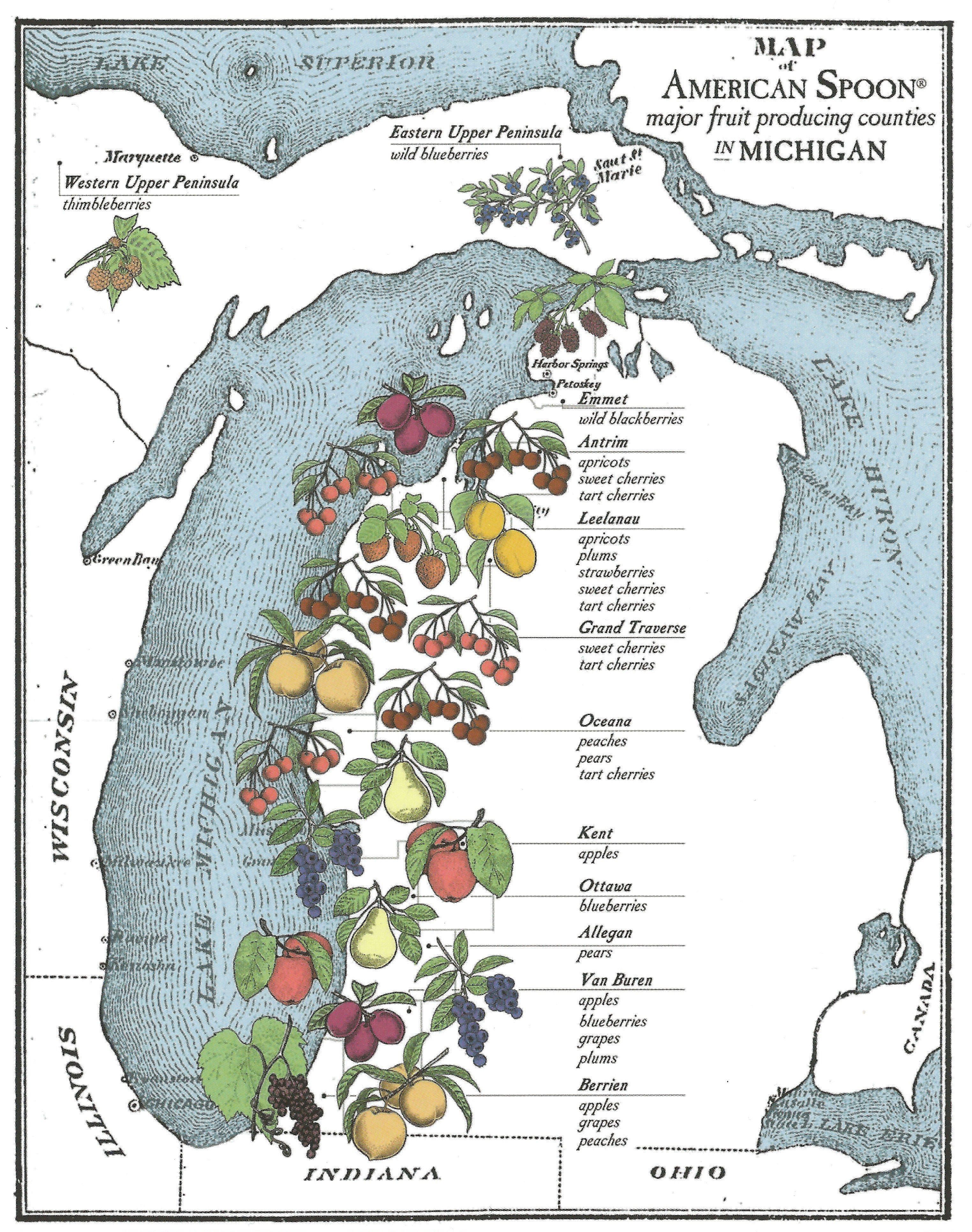 Map of Michigan's Fruit Belt