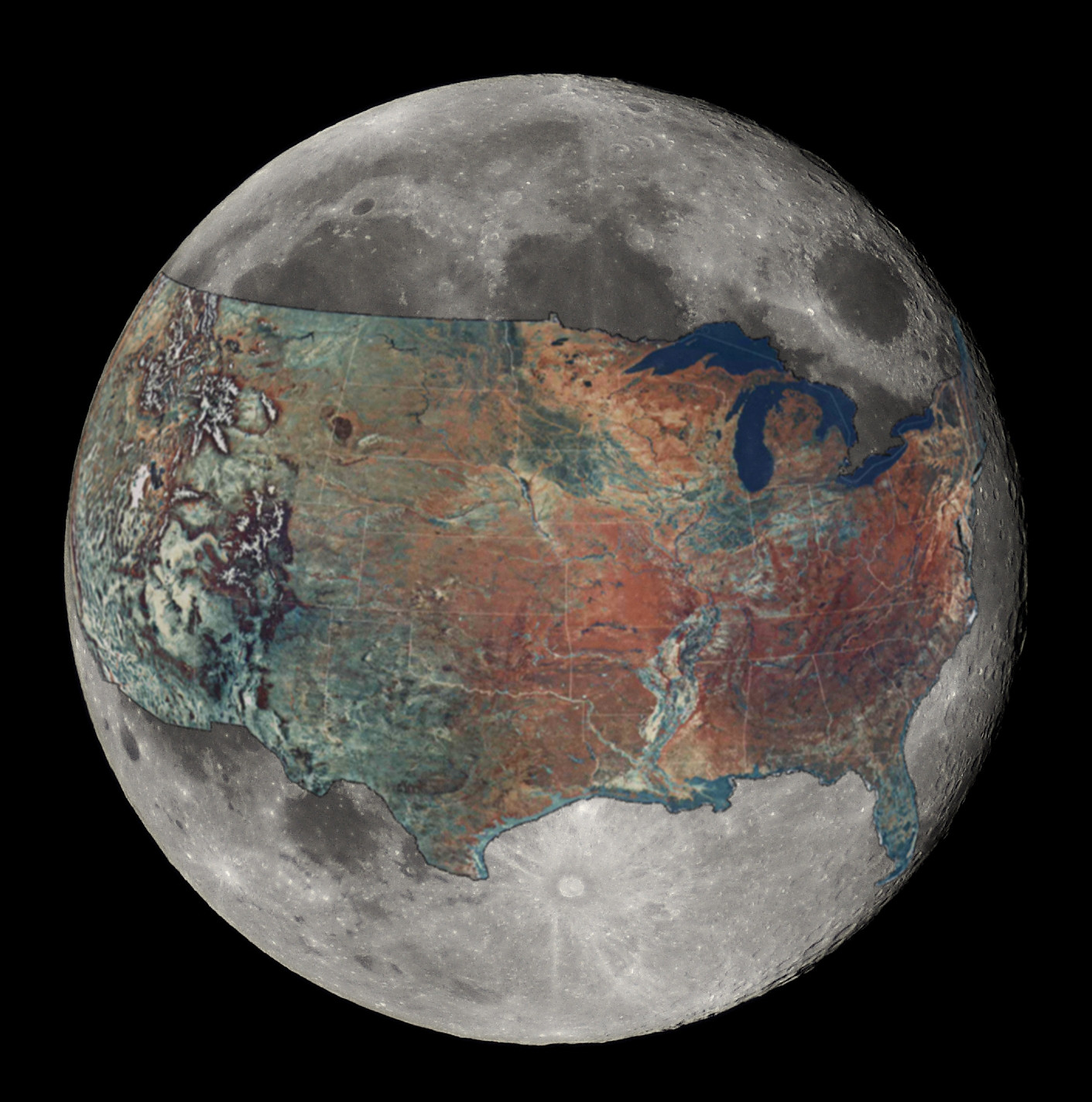 Size of the Moon Compared to the USA