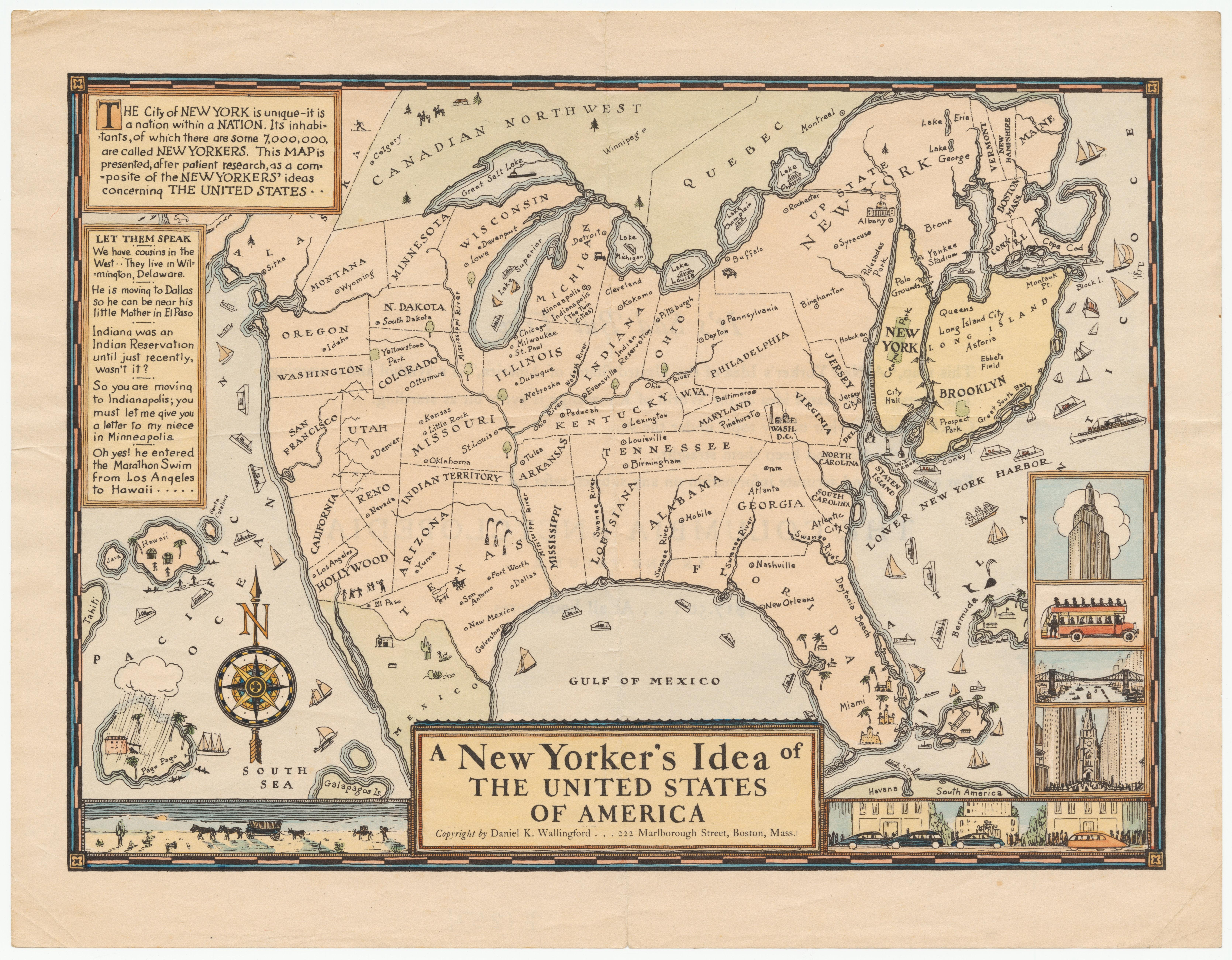 New Yorker's Idea of the United States 1922